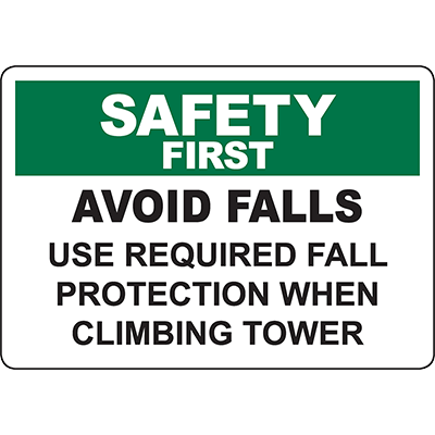 SAFETY FIRST Avoid Falls Required Fall Protection Sign