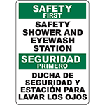 SAFETY FIRST Safety Shower And Eyewash Station Bilingual Sign