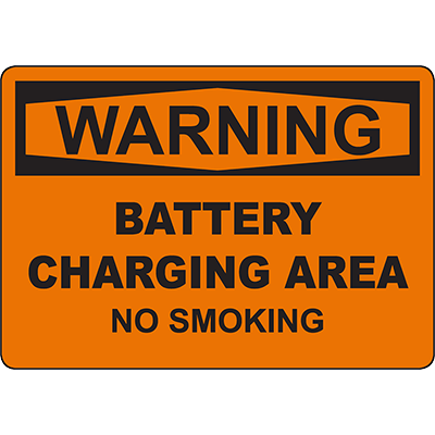 WARNING Battery Charging Area No Smoking Sign