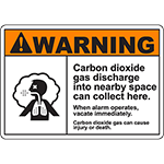 WARNING Carbon Dioxide Discharge Collects Here Sign