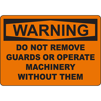 WARNING Do Not Remove Guard Or Operate Without Sign