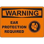 WARNING Ear Protection Required Sign w/Symbol
