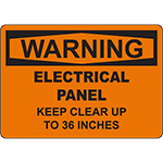 WARNING Electrical Panel Clearance 36 Inches Sign