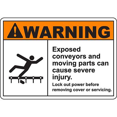 WARNING Exposed Conveyors Can Cause Injury Sign