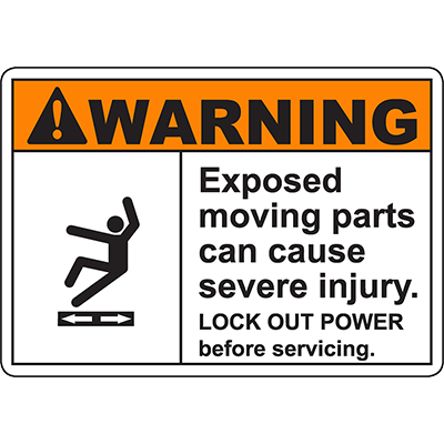 WARNING Moving Parts Can Cause Severe Injury ANSI Sign