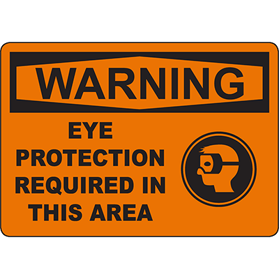 WARNING Eye Protection Required In This Area Sign w/Symbol