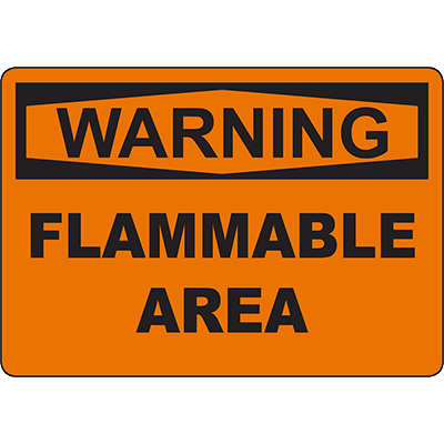WARNING Flammable Area Sign