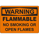 WARNING Flammable No Smoking Or Open Flames Sign