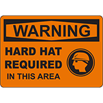 WARNING Hard Hat Required In This Area Sign w/Symbol