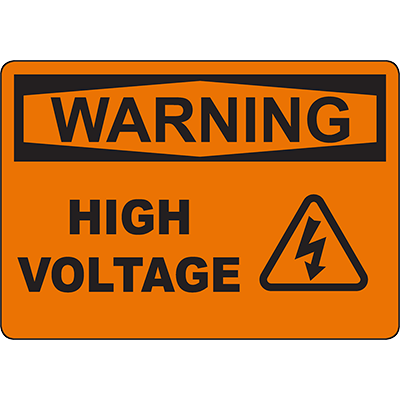 WARNING High Voltage Sign w/Symbol