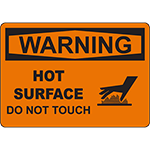 WARNING Hot Surface Do Not Touch Sign