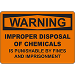 WARNING Improper Disposal Punishable By Fine Sign