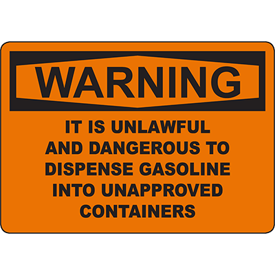 WARNING Danger To Dispense Gas Into Containers Sign