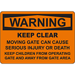 WARNING Gate Can Cause Serious Injury Or Death Sign
