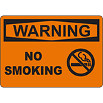 WARNING No Smoking Sign w/Symbol