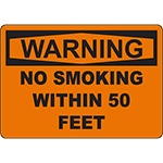 WARNING No Smoking Within 5 Feet Sign