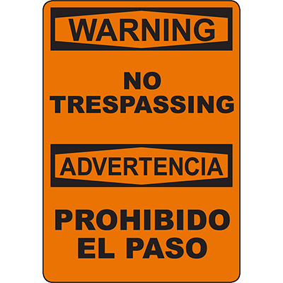 WARNING No Trespassing Bilingual Sign
