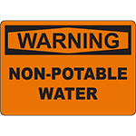WARNING Non-Potable Water Sign