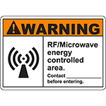 WARNING RF/Microwave Energy Controlled Area Sign