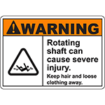 WARNING Rotating Shaft Can Cause Severe Injury Sign