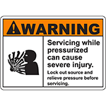 WARNING Servicing Pressurized Can Cause Injury Sign