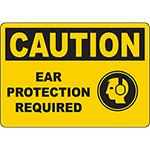 CAUTION Ear Protection Required Sign w/Symbol