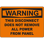 WARNING Disconnect Does Not Remove All Power Sign