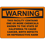 WARNING Cancer Warning (California Prop 65) Sign