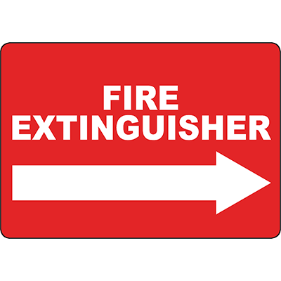 Fire Extinguisher Right arrow Sign