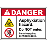 DANGER Asphyxiation Hazard Do NOT enter Sign