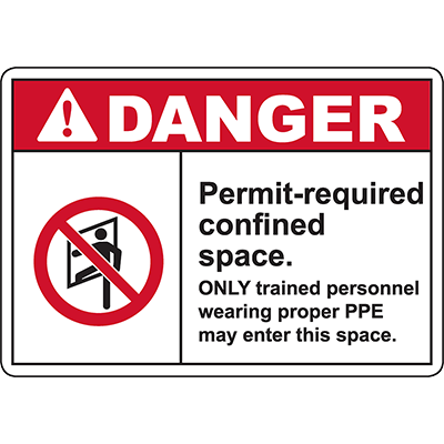 DANGER Permit Required Confined Space Sign