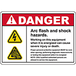 DANGER Arc Flash And Shock Hazards Sign