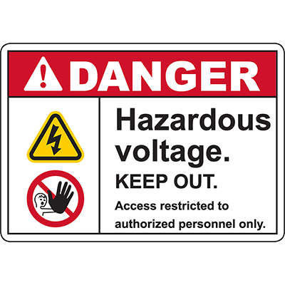 DANGER Hazardous Voltage KEEP OUT Sign
