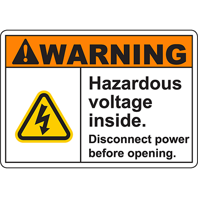 WARNING Disconnect power before opening Sign