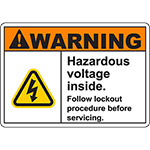 WARNING Follow lockout procedure before servicing Sign