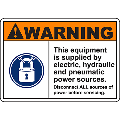 WARNING Supplied By Electric Hydraulic Pneumatic Sources Sign