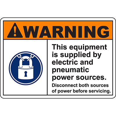 WARNING Supplied By Electric Pneumatic Sources Sign
