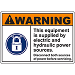 WARNING Supplied By Electric Hydraulic Sources Sign