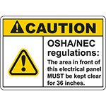 CAUTION Osha/Nec Regulations: Sign