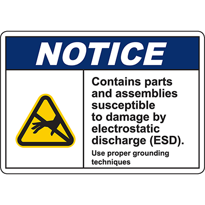 NOTICE Contains Parts Susceptible To Damage Sign