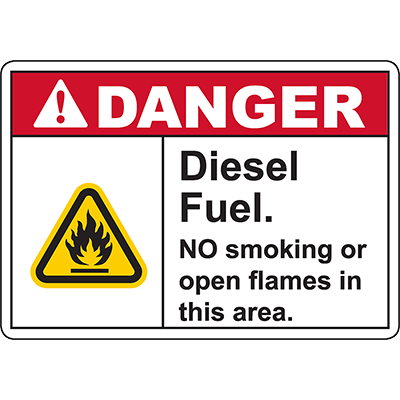 DANGER Diesel Fuel NO Smoking Or Open Flames In This Area Sign