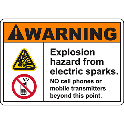 WARNING Explosion Hazard From Electric Sparks Sign