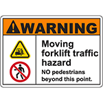 WARNING Moving Forklift Traffic Hazard Sign