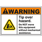 WARNING Tip Over Hazard Sign