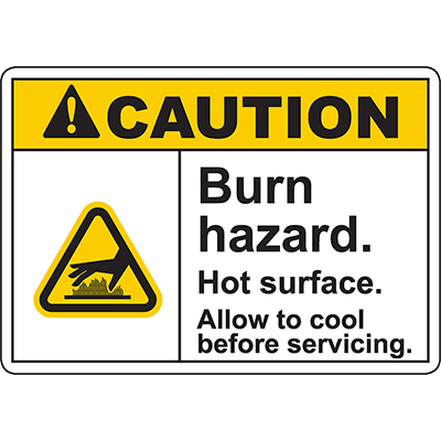 CAUTION Burn Hazard Allow to cool before servicing Sign