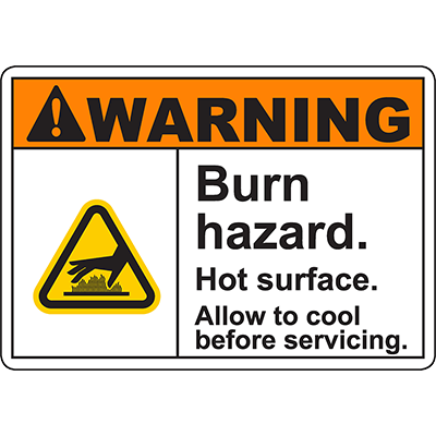 WARNING Burn Hazard Allow to cool before servicing Sign