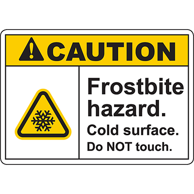 CAUTION Frostbite Hazard Sign