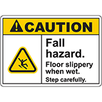 CAUTION Fall Hazard Floor slippery when wet Sign