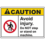CAUTION Avoid Injury Sign