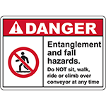 DANGER Entanglement And Fall Hazards Sign